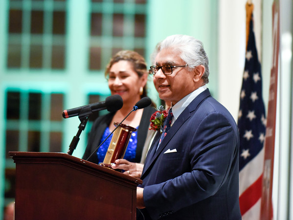 09/27/18 Wesley Bunnell | Staff The Immigrant Heritage Hall of Fame 2018 Gala and Induction Ceremonies was held on Thursday night at The Aqua Turf Club. Inductee Adnan Durrani speaks.