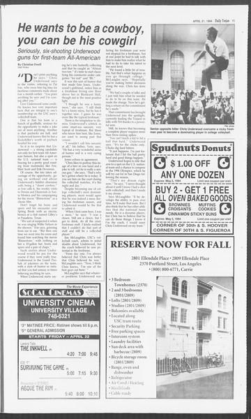 Daily Trojan, Vol. 122, No. 63, April 21, 1994