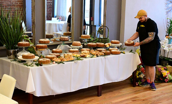 4/9/2020 Mike Orazzi | Staff Dawid Zakrzewski sets up Easter at the Belvedere Cafe at 82 Broad St. New Britain.