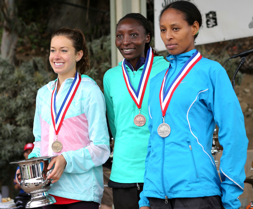 . From left: First place winner Emily Infield, third place winner Risper Gesabwa and second place winner Almaz Negede Fekade are honored at the 2013 Wharf to Wharf awards ceremony in Capitola on Sunday. (Kevin Johnson/Sentinel)