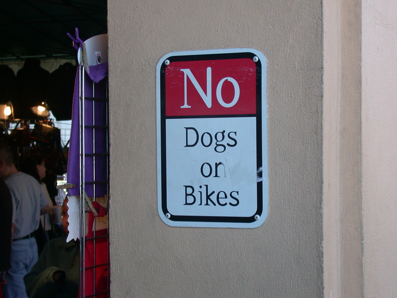 dogs on bikes? why would you try to restrict something so beautiful?