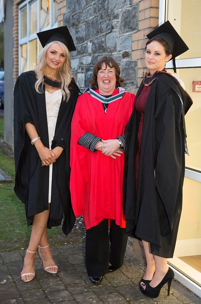 28/10/2015 IMAGE FREE TO USE. Conferring at Waterford Institute of Technology. l-r  Eleanor Kirwan from Glenmore Batchelor of Science (honours) in Psychiatric Nursing, Suzanne Deniffe Head of School of Nursing WIT and Joanna O'Brien from Ferrybank Batchelor of Science (honours) in General Nursing. Photo; Mary Browne