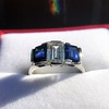 2.83ctw Vintage Emerald Diamond and Sapphire Trilogy Ring 21
