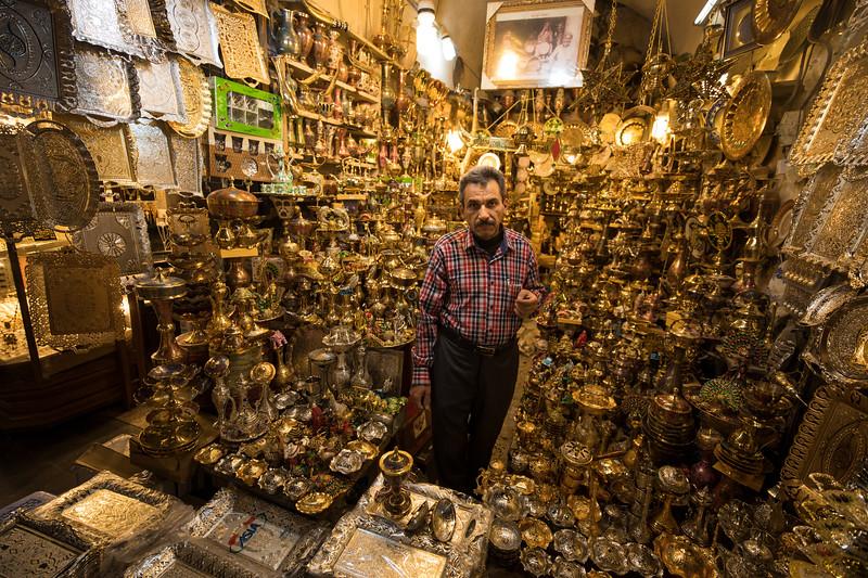 Brassware in Najaf souq.