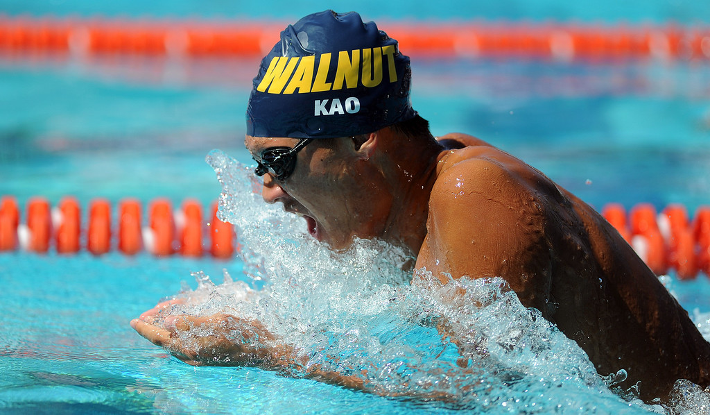 . Walnut\'s Derek Kao competes in the 200 yard medley relay during the CIF-SS Division II swim finals at Riverside City College on Saturday, May 11, 2013 in Riverside, Calif.  (Keith Birmingham Pasadena Star-News)