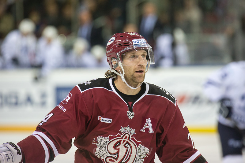Pyotr Schastlivy (24) in the KHL regular championship game between Dinamo Riga and Dynamo Moscow, played on October 3, 2016 in Arena Riga
