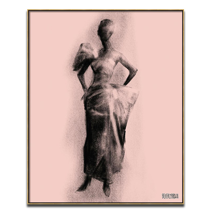 Blush Pink and Black Vintage Fashion Evening Dress Wall Art Print - Beverly Brown - beverlybrown.com