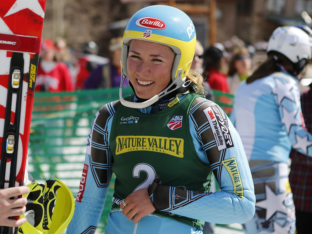 . Mikaela Shiffrin, of the United States, reacts after her final run in the women\'s slalom skiing event during the US Alpine Championships Wednesday, March 28, 2012, in Winter Park, Colo. Shiffrin finished in first place. (AP Photo/Jim Urquhart)