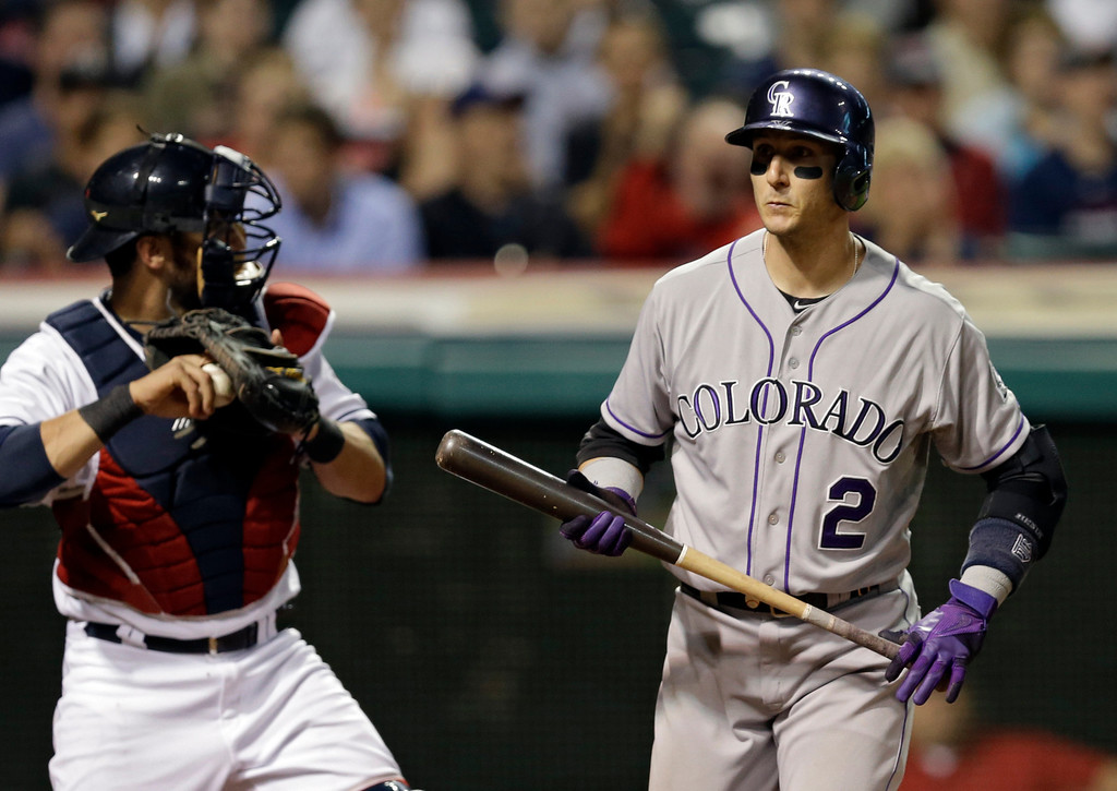 . Colorado Rockies\' Troy Tulowitzki (2) walks back to the dugout after he was called out on strikes in the ninth inning of a baseball game against the Cleveland Indians on Friday, May 30, 2014, in Cleveland. Tulowitzki went 0-for-4 in the Rockies\' 5-2 loss to the Indians. (AP Photo/Mark Duncan)