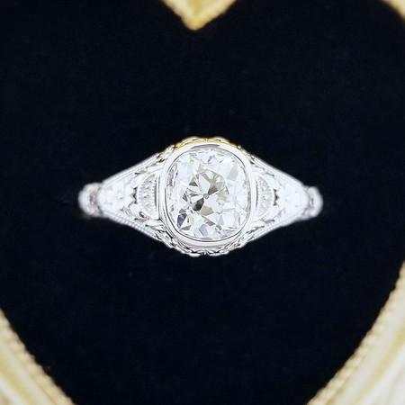 0.98ct Antique Cushion Cut Diamond Ring - Est. K, VVS1