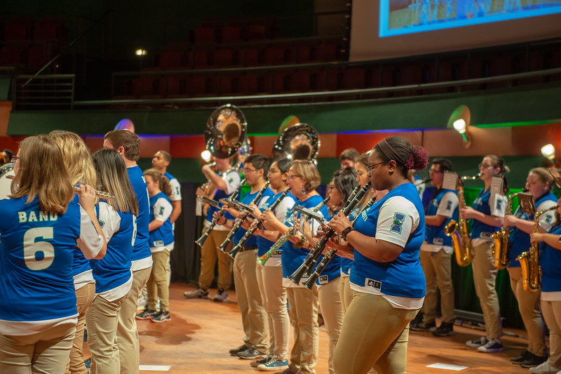 The Islander pep band welcomes prospective students to the Island University.