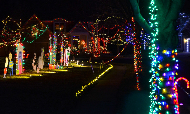 The neighborhood known as Christmas Place in Overland Park features two streets of homes strewn with lights, cutouts and myriad other Christmas decorations.