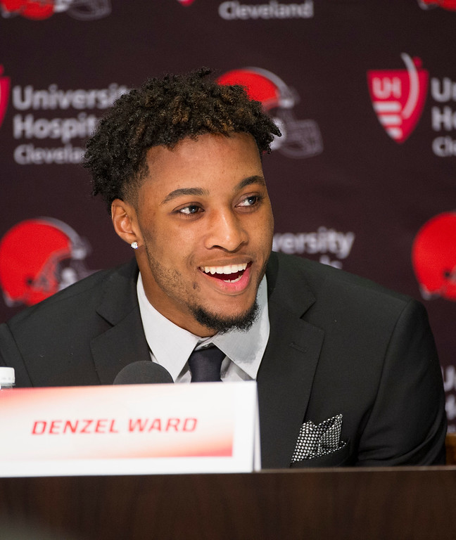 . Cleveland Browns first-round draft selection Denzel Ward answers a question during an NFL football news conference at the team\'s headquarters in Berea, Ohio, Friday, April 27, 2018. (AP Photo/Phil Long)