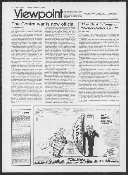 Daily Trojan, Vol. 102, No. 31, October 14, 1986