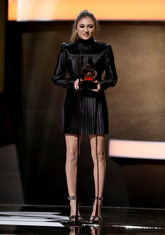 ". Daya accepts the award for best dance recording for ""Don\'t Let Me Down\"" at the 59th annual Grammy Awards on Sunday, Feb. 12, 2017, in Los Angeles. (Photo by Matt Sayles/Invision/AP)"