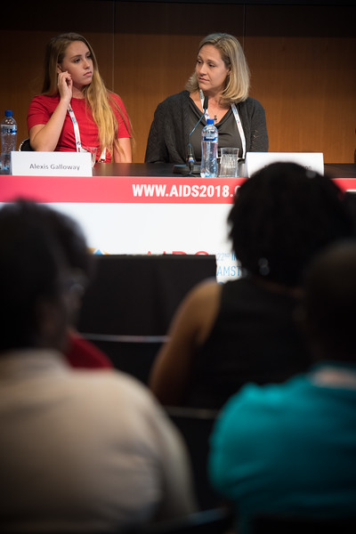 22nd International AIDS Conference (AIDS 2018) Amsterdam, Netherlands   Copyright: Marcus Rose/IAS  Photo shows: The 4th HIV Exposed Uninfected (HEU) Child and Adolescent Workshop. Panel discussion. Claude Ann Mellins, Columbia University, United States. Alexis Galloway, United States. Stephanie McCann, United States.