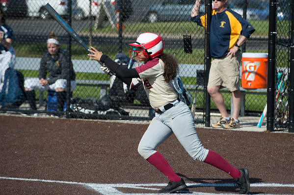 05/15/19 Wesley Bunnell | Staff New Britain softball defeated Simsbury 4-2 at Chesley Park on Wednesday afternoon. Joseleen Rivera (1) and Amanda Jacobs (5).