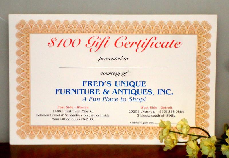 Fred's Unique Furniture Gift Certificates.