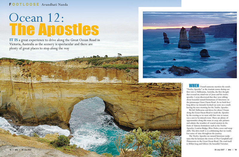 "Footloose: ""Ocean 12: The Apostles"" article by Anu (Arundhathi) and pictures by Suchit (Nanda) in the BTW Magazine (By The Way) 30th July 2007 issue.    http://www.btwmag.com/    Article can be read at:   http://suchit.net/writing/index.html     http://www.btwmag.com/30_07_07/pg19.asp     Full size image of the Great Ocean Road, Victoria, Australia can be seen here:   http://photos.suchit.in/photos/162084197-O.jpg"