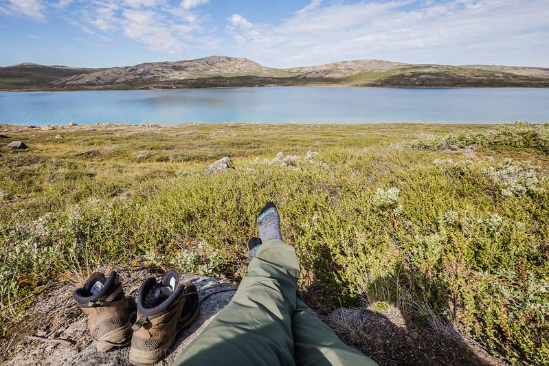 Wearing Wigwam socks while hiking
