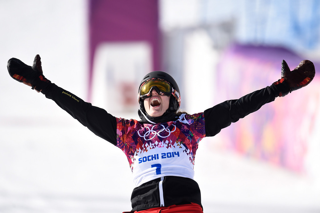 . SOCHI, RUSSIA - FEBRUARY 19:  Patrizia Kummer of Switzerland celebrates winning the gold medal in the Snowboard Ladies\' Parallel Giant Slalom Finals on day twelve of the 2014 Winter Olympics at Rosa Khutor Extreme Park on February 19, 2014 in Sochi, Russia.  (Photo by Lars Baron/Getty Images)