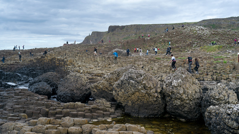 Tourists on the coast, Giant's Causeway, County Antrim, Northern Ireland, Ireland