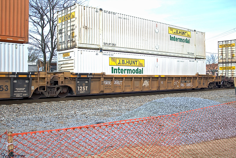 Articulated Multi-Unit Flat Car Type S635 passing the Touch a 