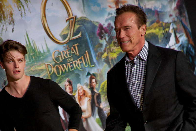 HOLLYWOOD; CA - FEBRUARY 13: Patrick Schwarzenegger and Actor Arnold Schwarzenegger arrive at the world premiere of Walt Disney Pictures' 'Oz The Great And Powerful' at the El Capitan Theatre on Wednesday February 13; 2013 in Hollywood; California. (Photo by Tom Sorensen/Moovieboy Pictures)