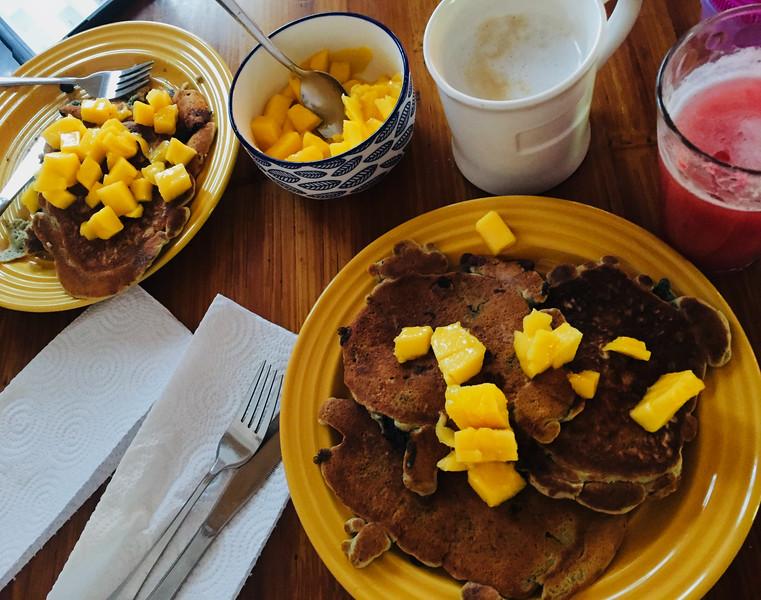 Blueberry Pancakes with Mangos