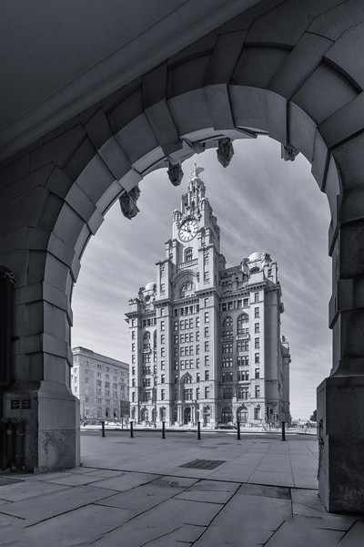 Royal Liver Building, Liverpool from Under the Arches