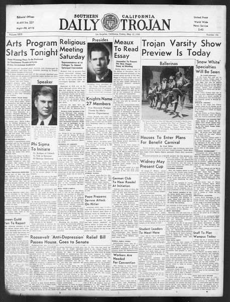 Daily Trojan, Vol. 29, No. 136, May 13, 1938