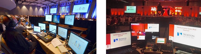 View from the tech table: Brown-Forman Sales and Awards Meeting, Atlanta, GA;  and Go Red Fashion Show in Louisville, KY.