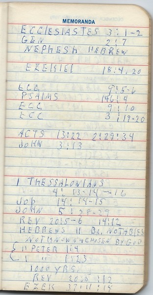 Bible references found in a notebook from 1979