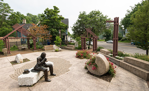 Statue of Nathaniel Rochester in park in City of Rochester's South Wedge neighborhood