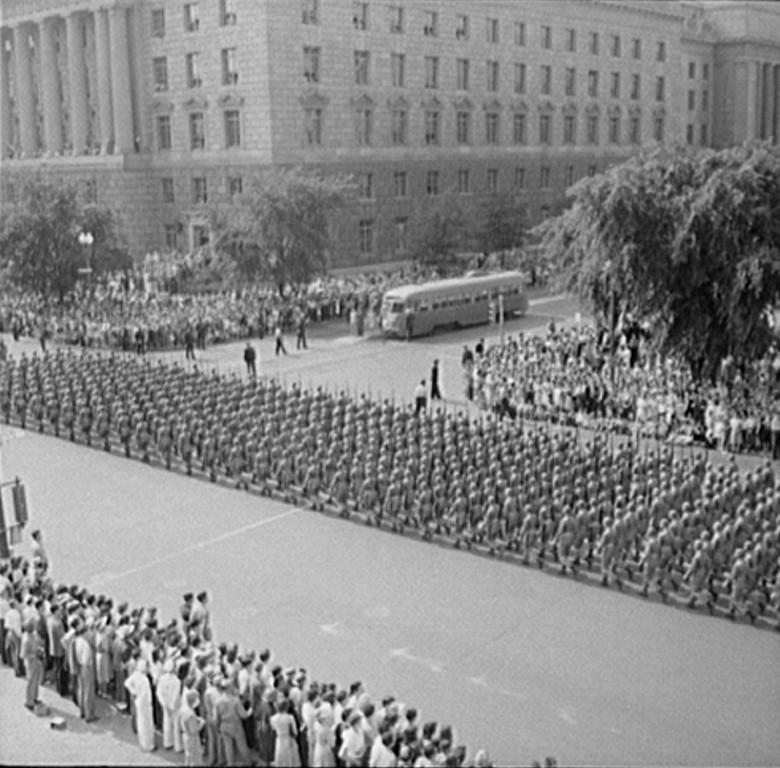 . Washington, D.C. Memorial Day parade, 1942. Royden Dixon, Photographer.  Courtesy the Library of Congress