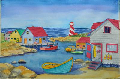 "Safe Harbor. watercolor, 15x22"", July 2012."
