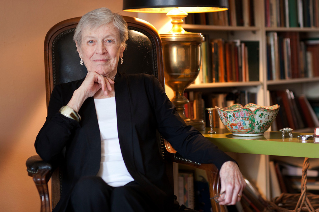 . FILE - In this March 24, 2011 photo, author Paula Fox poses for a portrait in New York. Fox, known for the novels �Desperate Characters� and �Poor George� and the memoir �Borrowed Finery.� died Wednesday, March 1, 2017, at Brooklyn Methodist Hospital. She was 93 and had been in failing health. (AP Photo/Victoria Will, File)