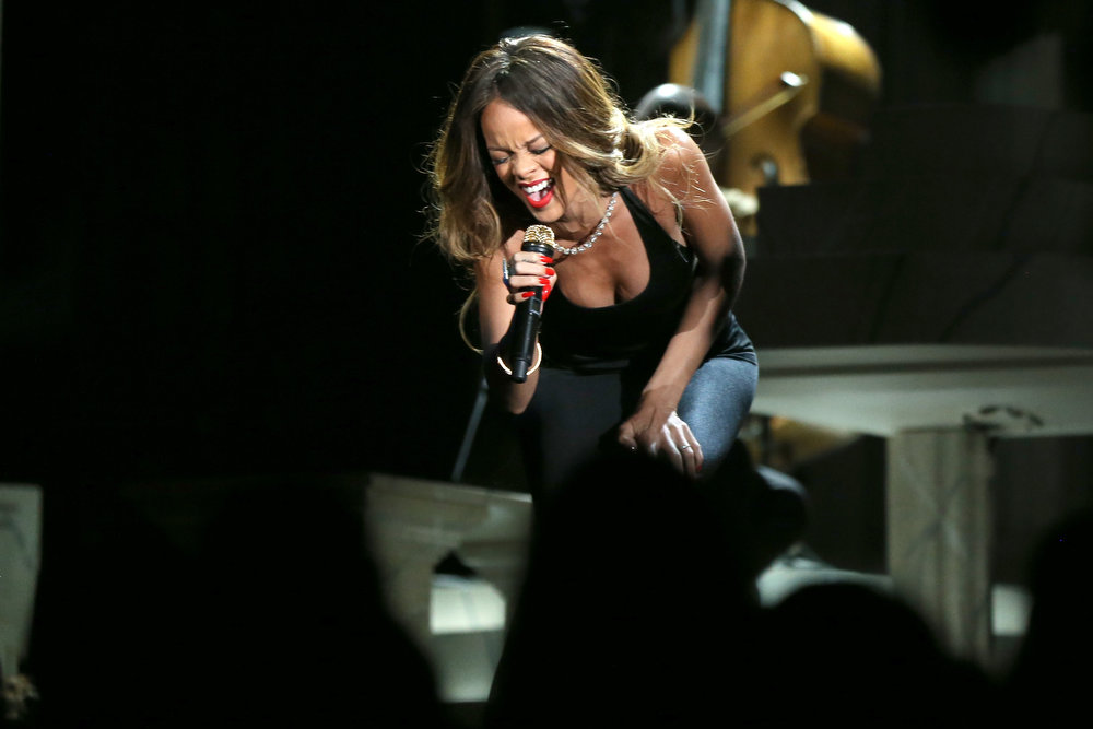. Singer Rihanna performs onstage during the 55th Annual GRAMMY Awards at STAPLES Center on February 10, 2013 in Los Angeles, California.  (Photo by Christopher Polk/Getty Images for NARAS)