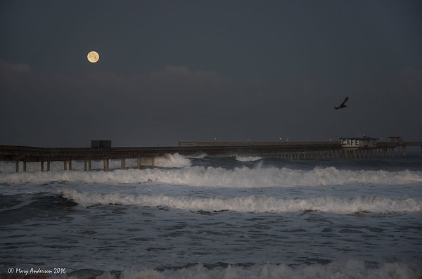 OB Moonset and Waves 1/24/16