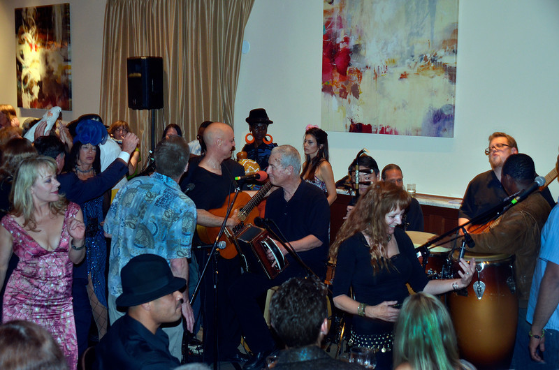 Freddy Clarke, guitar, Jim Giovannim comedianm, at opening night party for Freddy Clarke's Wobbly World and his mother Pearl's birthday, at Maestro's Restaurant (formerly STARS).