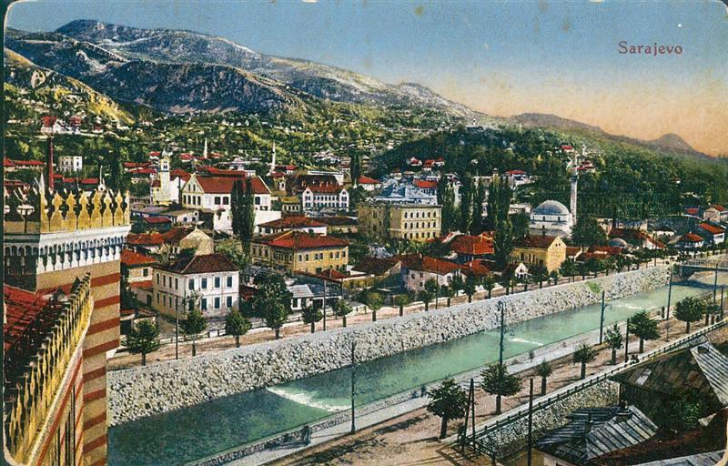 Pogled na obale Miljacke kod Viječnice početkom prošlog vijeka