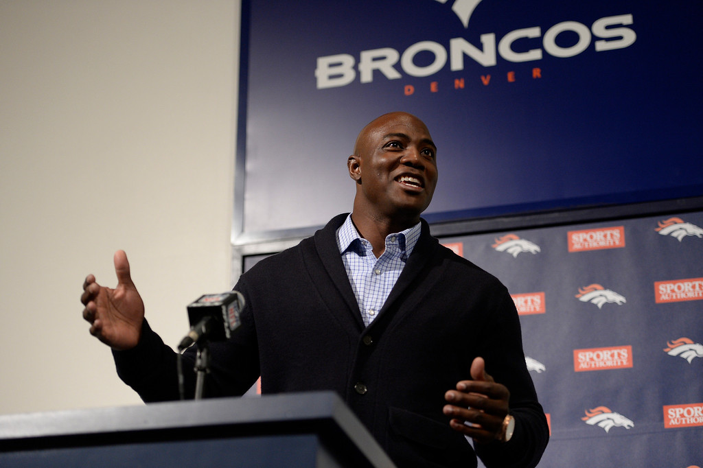 . Denver Broncos defensive end DeMarcus Ware addresses the media at a press conference. The Broncos reached an agreement on a three-year, $30 million contract March 12, 2014 at Dove Valley. (Photo by John Leyba/The Denver Post)