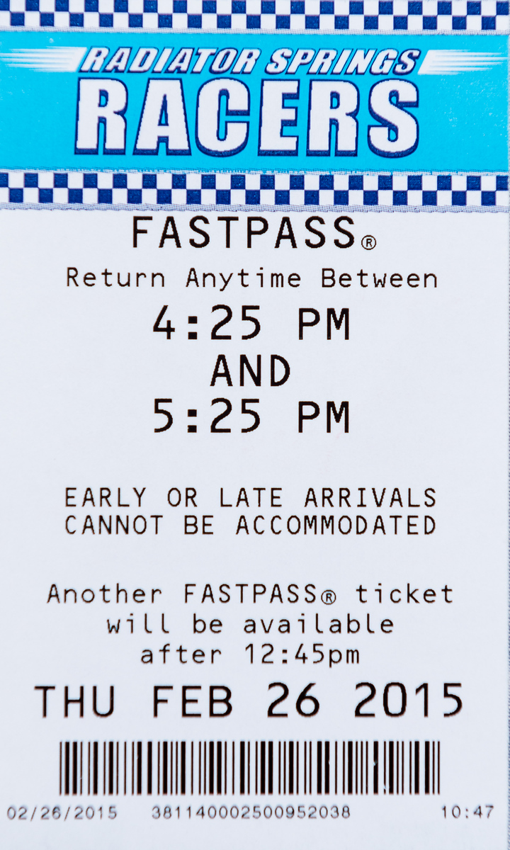 Disneyland - Radiator Springs Racers FastPass Ticket