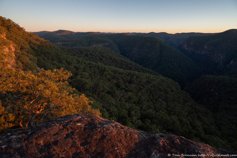 First light on the peaks above the gorge