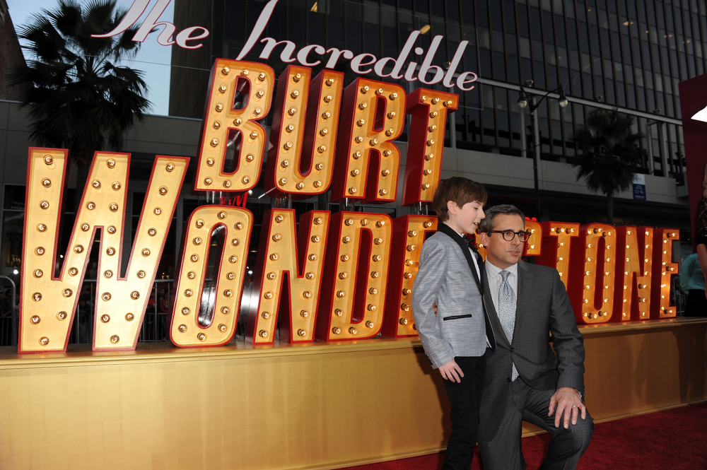 ". Actors Mason Cook (L) and actor/producer Steve Carell attend the premiere of Warner Bros. Pictures\' ""The Incredible Burt Wonderstone\"" at TCL Chinese Theatre on March 11, 2013 in Hollywood, California.  (Photo by Kevin Winter/Getty Images)"