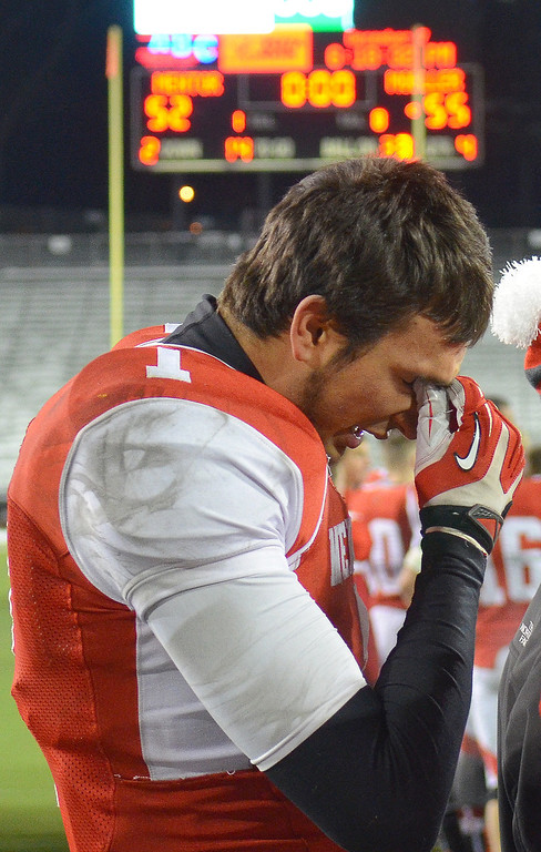 . Michael Allen Blair/ MBlair@News-Herald.com Mentor\'s Brandon Fritz fights back tears after losing to Cincinnati Moeller 55-52 at Saturday\'s Div. I state championship game at Fawcett Stadium in Canton.