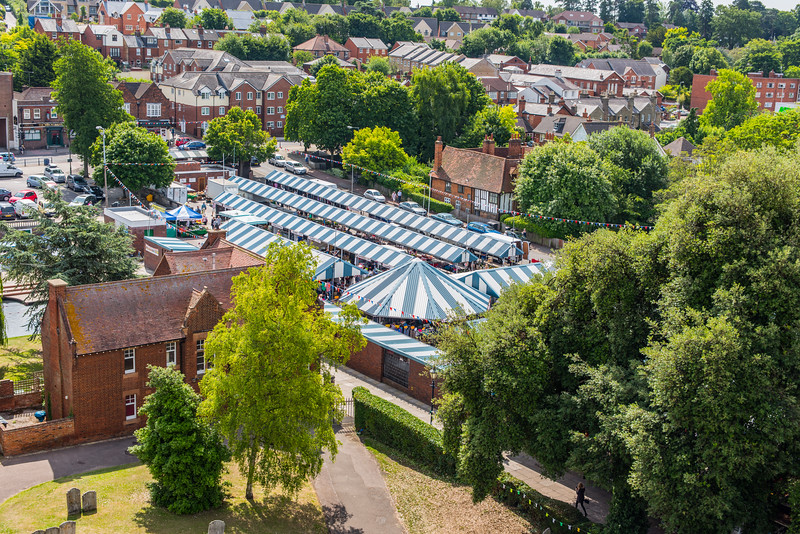 View of Hitchin and the market from the tower of St Mary's Church, Hertfordshire