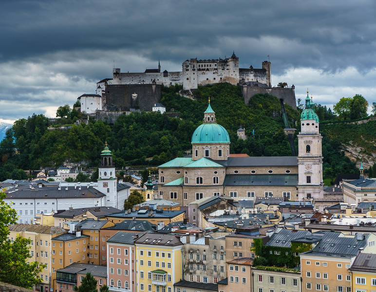 Salzburg: View of the Fortress from the Monastery
