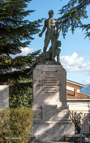 War memorial to descendants of people of Fornelli, both in America and Italy who died in WWI.