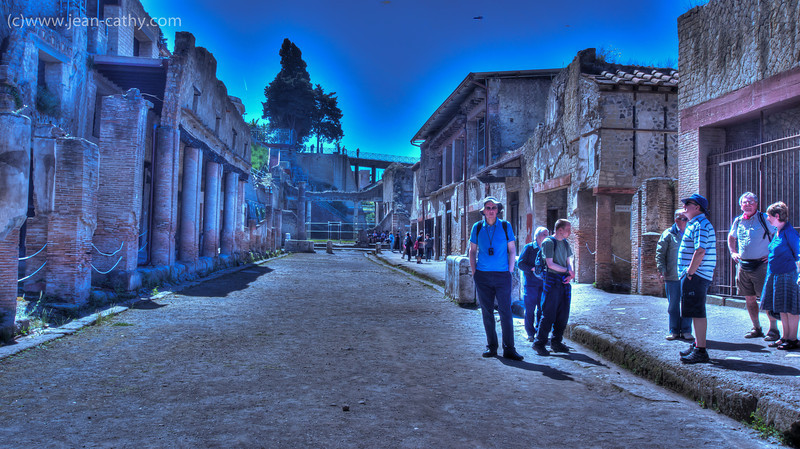 Herculaneum (Ercolano), Italy - Standing on the street .. it looks remarkably similar to the way it looked in AD 79 before getting buried by Landslides following the eruption of Mount Vesuvius.